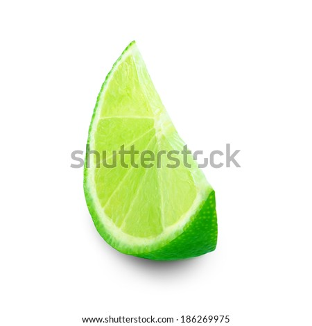ripe slice of lime on white background