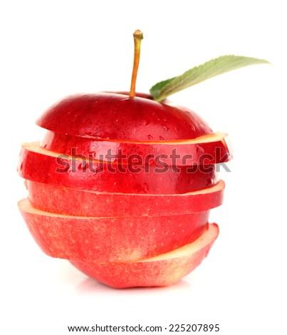 Ripe sliced apple isolated on white - stock photo