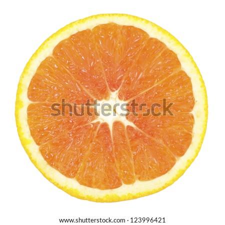 Ripe sliced orange isolated on the white background - stock photo