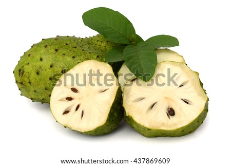 ripe Soursop fruits isolated on white background