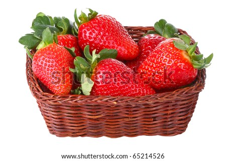 Ripe strawberries in a basket isolated on a white background