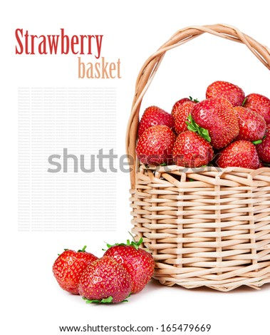 Ripe strawberries in a basket isolated on white background