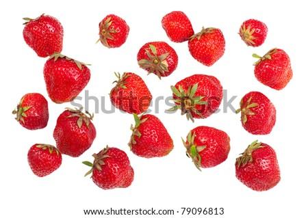 Ripe strawberries isolated on white background - stock photo