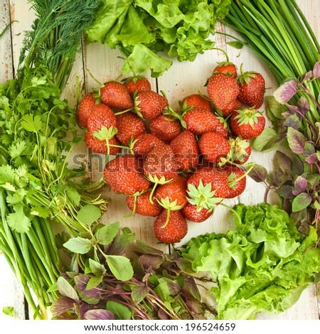 ripe strawberries on a plate and herbs closeup - stock photo