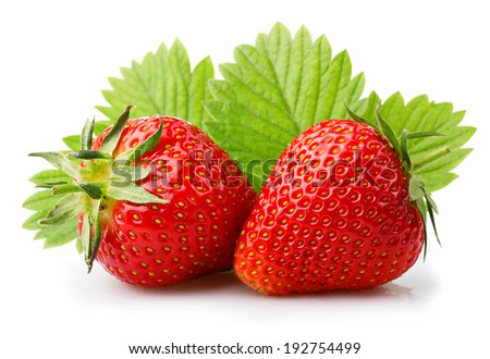 Ripe strawberries with leaves isolated on a white background - stock photo