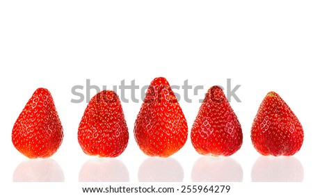Ripe strawberry fruit on a white background. isolated - stock photo