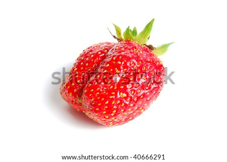 Ripe strawberry, is isolated on a white background