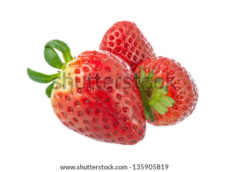 Ripe strawberry isolated on white background. Large DOF increased by focus stack. Everything in focus.