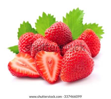 Ripe strawberry on white background. - stock photo