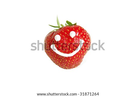 Ripe strawberry with smiley face, isolated on white - stock photo