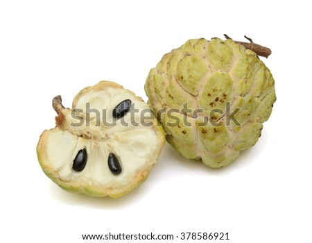 Ripe Sugar Apple fruit with half isolated on white background