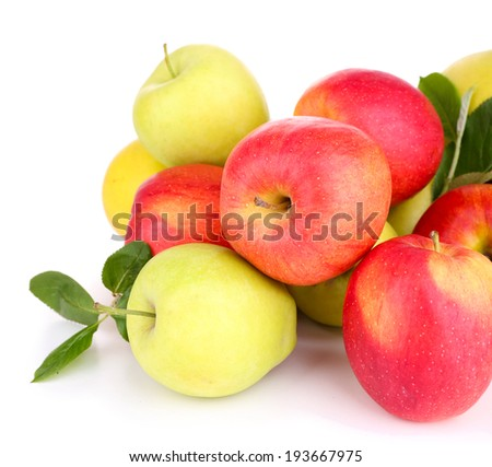 Ripe sweet apples with leaves, isolated on white - stock photo