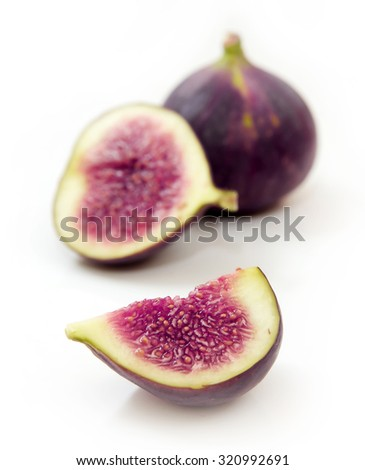 Ripe sweet figs fruits isolated on white background - stock photo
