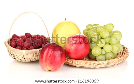 ripe sweet fruits and berries isolated on white - stock photo