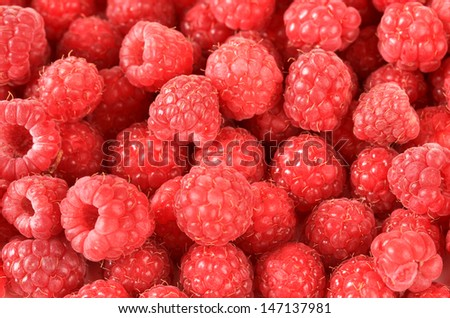 Ripe sweet raspberries, close up