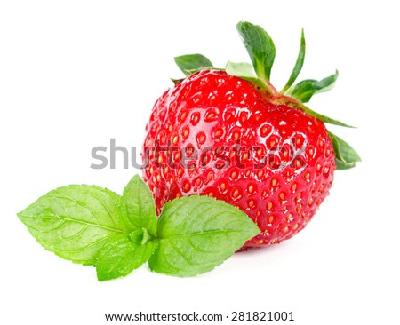Ripe sweet strawberries and mint, isolated on white - stock photo