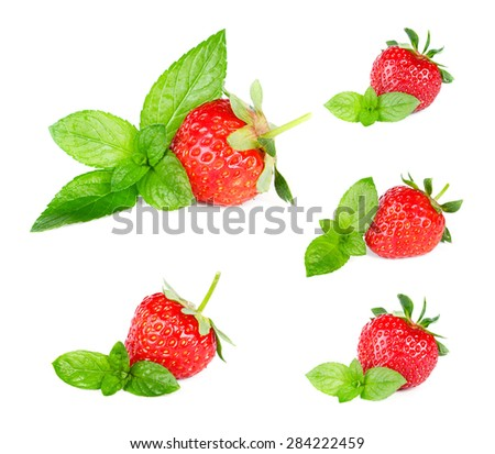 Ripe sweet strawberries and mint, Set. - stock photo