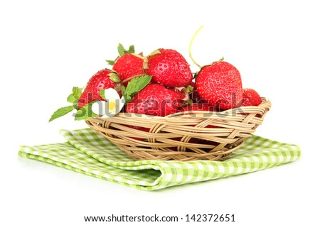 Ripe sweet strawberries in basket, isolated on white