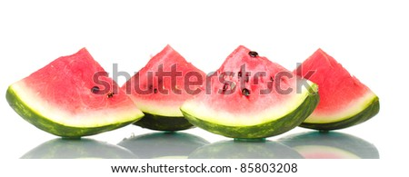 Ripe sweet watermelon isolated on white - stock photo