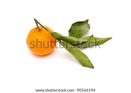 Ripe tangerine on white background - stock photo