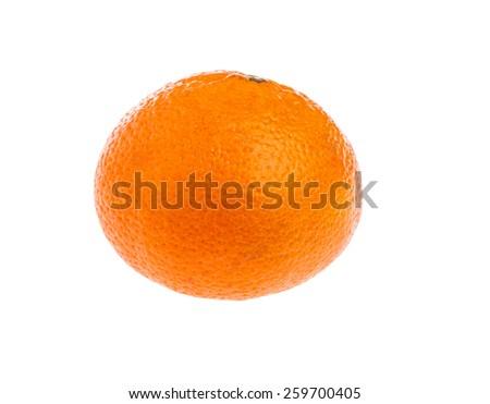 Ripe tangerine or mandarin isolated on white background - stock photo