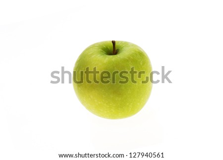 Ripe tasty green apple isolated on white - stock photo