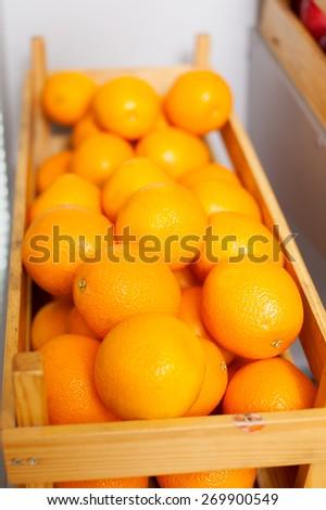 Ripe tasty orange box isolated side view nature - stock photo
