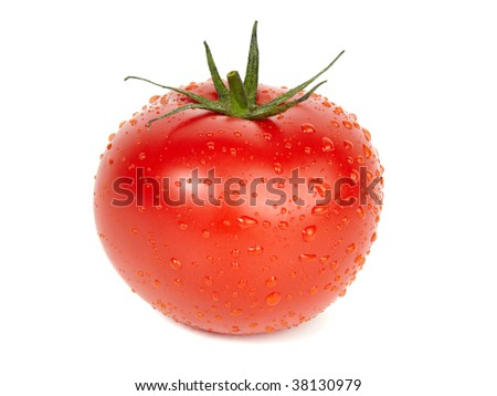 Ripe tomato covered with water drops, isolated on white background.