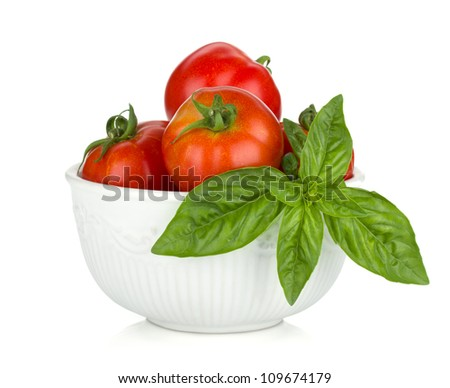 Ripe tomatoes and basil. Isolated on white background - stock photo