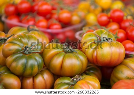 Ripe tomatoes in Campo De Fiori street market, Rome - stock photo