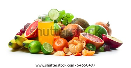 Ripe tropical fruits over white background - stock photo
