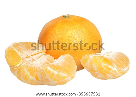 Ripe tropical tangerines it is isolated on a white background