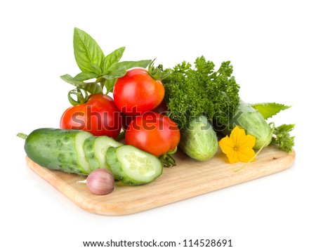 Ripe vegetables and herbs. Isolated on white background - stock photo