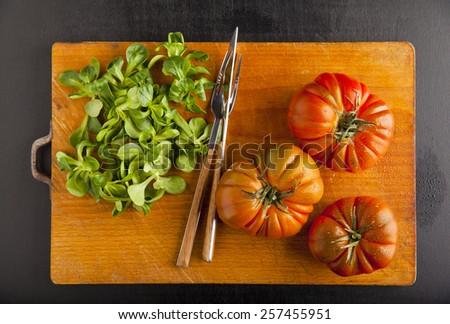ripe vegetables. food ingredients. tomato, olive oil, salad - stock photo