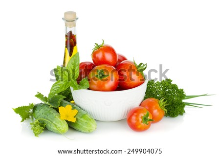 Ripe vegetables, herbs and olive oil. Isolated on white background - stock photo