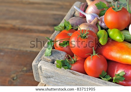 Ripe vegetables in a wooden box - stock photo
