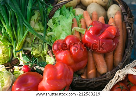 ripe vegetables in the basket with pepper