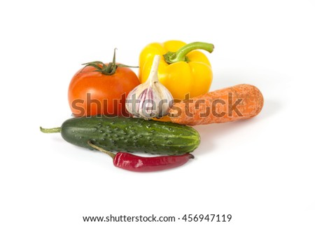 ripe vegetables on white background,  clipping path (shadow saved)