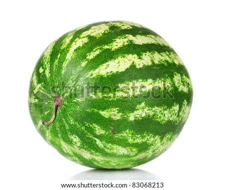 ripe watermelon isolated on white - stock photo