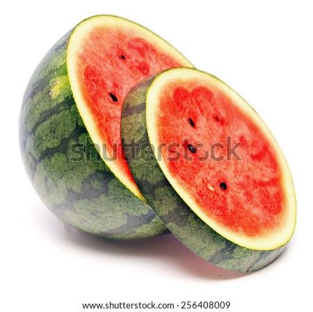 ripe watermelon isolated on white background - stock photo