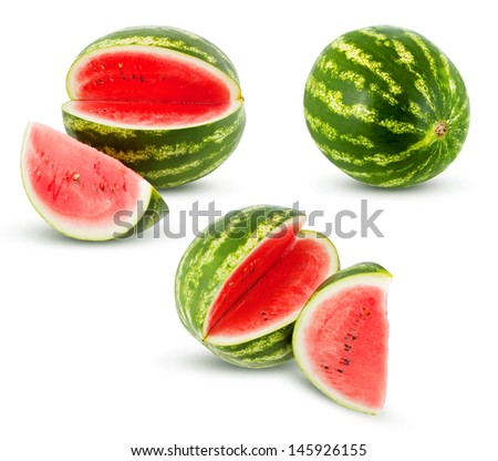 Ripe watermelon on a white background, juicy slice of watermelon, slices of ripe watermelon, watermelon in different perspectives, fresh watermelon, bright red watermelon