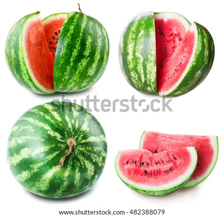 ripe watermelon set isolated on white background