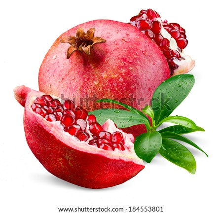 Ripe wet pomegranate with piece and leaves isolated on a white - stock photo