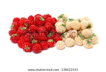 Ripe White and Red Strawberries, on white background - stock photo