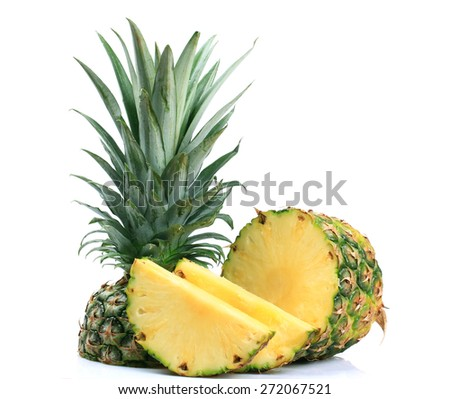 ripe whole pineapple isolated on white background - stock photo