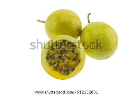 Ripe yellow passion fruits isolated on white background. It is good fruit for dieting and having a lot of vitamins.