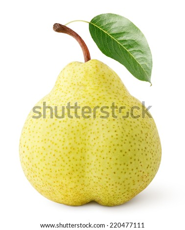 Ripe yellow pear fruit with leaf isolated on white with clipping path - stock photo