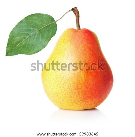 Ripe yellow pear on white background - stock photo