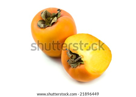 Ripen persimmon isolated on white