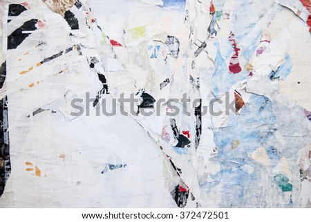 ripped billboard poster, grunge background - stock photo